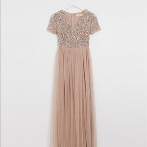 Petite maxi tulle dress with sequins